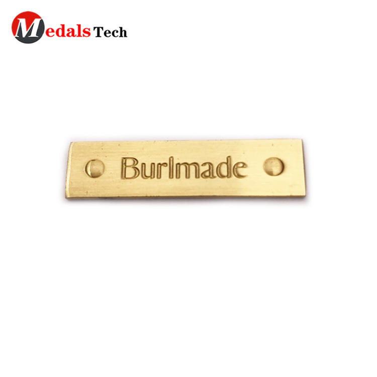 No minimum order gold plating thin logo metal plate