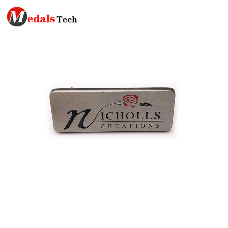 High quality color filled silver metal mini plate for handbag