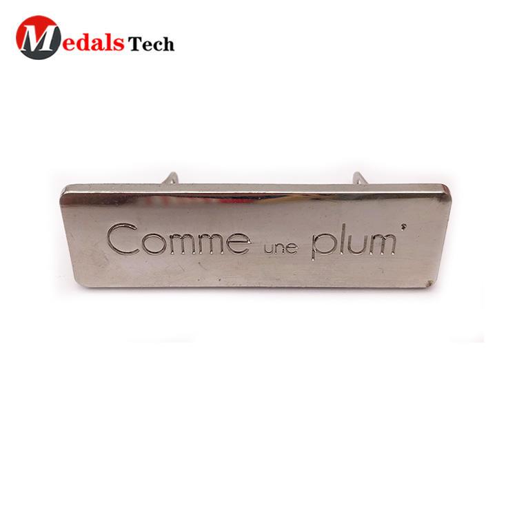 High quality custom logo blank shinny silver metal plate