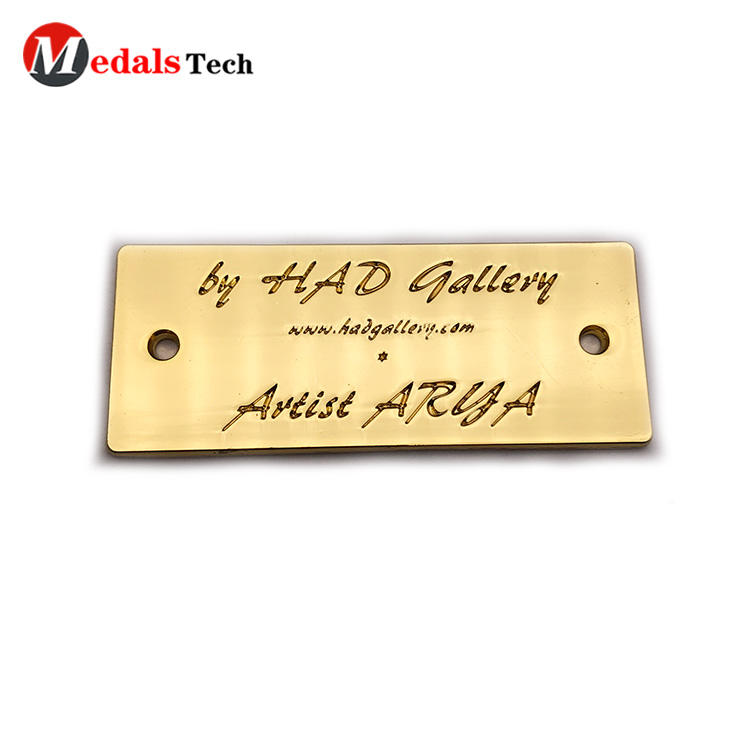 High quality custom gold engraved logo mini metal label
