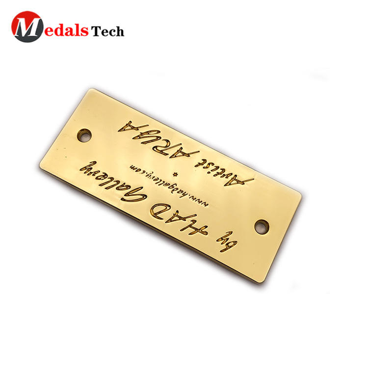 High quality custom gold engraved logo mini metal label