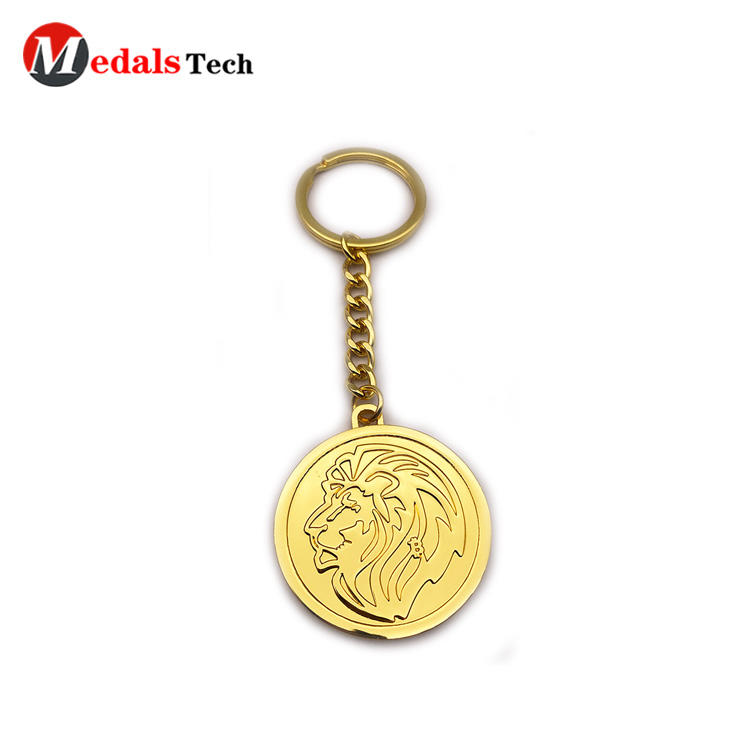 Factory price  shinny gold zinc alloy souvenir gift keychain