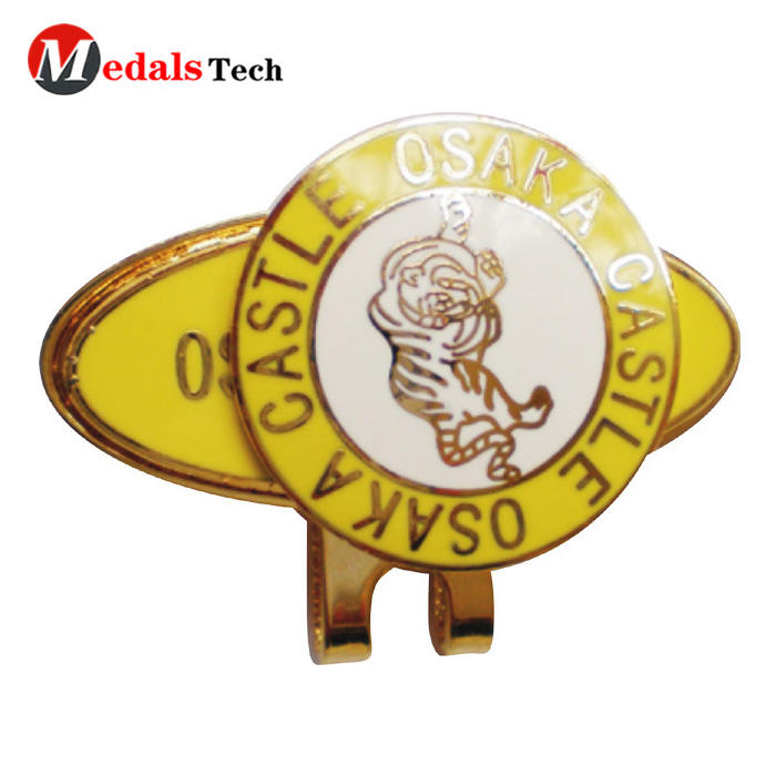 Factory price logo metal magnet golf cap clip with ball marker