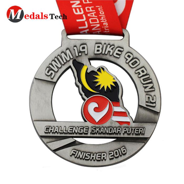 Hot selling custom color filled 5k mermaid metal award medals