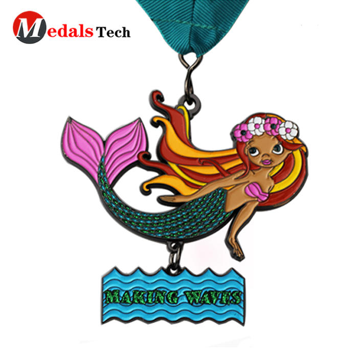 Hot selling custom color filled 5k mermaid metal award medals
