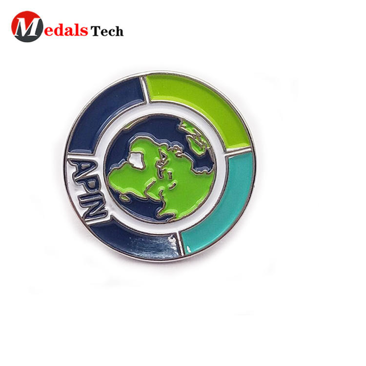 Custom made color filled  round shape metal pin clothing  badge