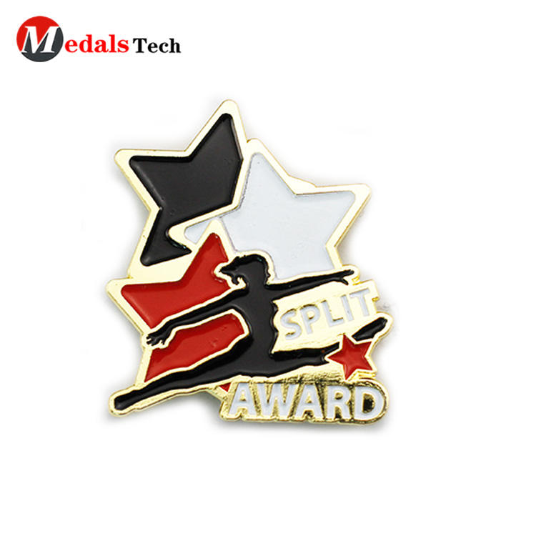 Unique custom gold plating matel make bulk sport award lapel pin