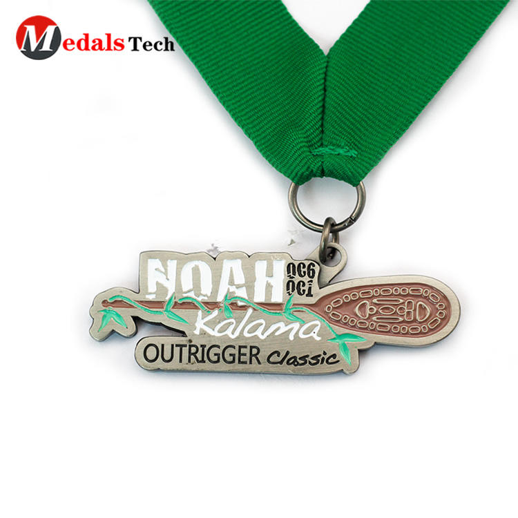 Cheap custom antique silver make metal enamel medals