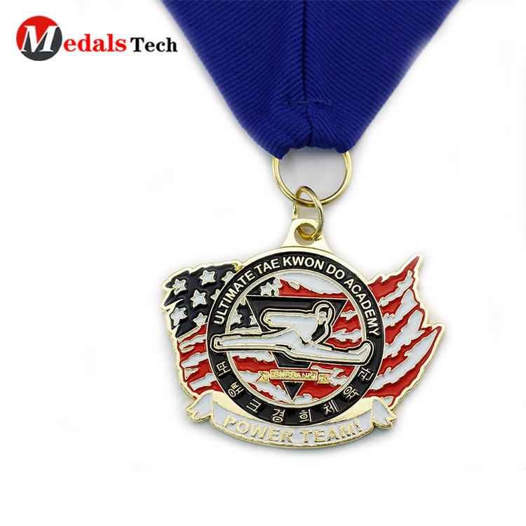 Promotional cheap taekwondo old sport custom enamel medals