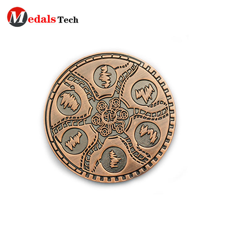 High quality antique copper engraved logo metal funny coins