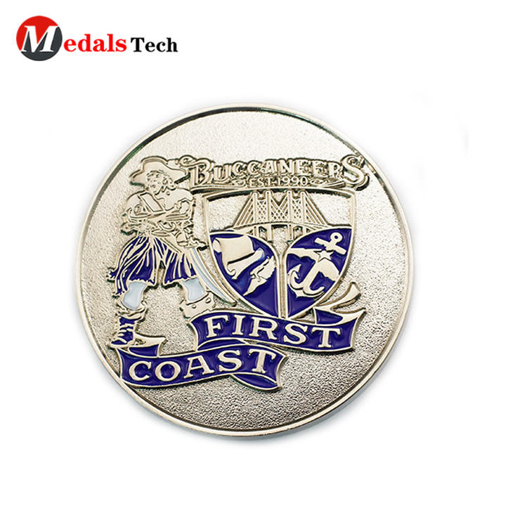 Funny custom silver plating embossed logo single coins