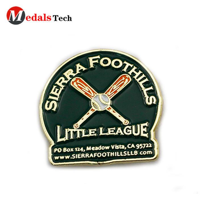 Chinese factory custom metal soft enamel baseball sports badge
