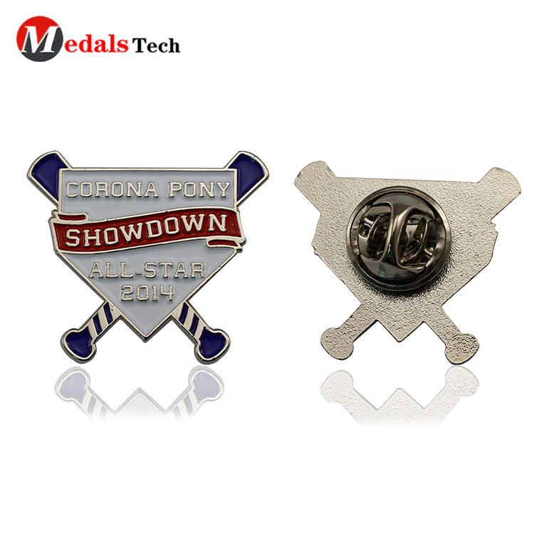 Cheap metal funny design silver plating clothing logo badge