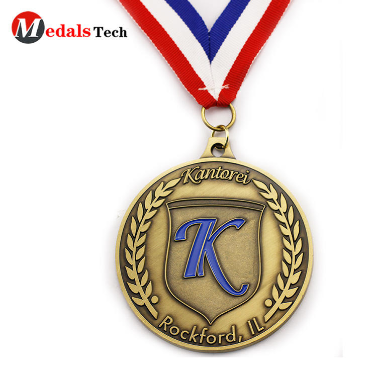Hot selling antique gold round shaped custom logo medals