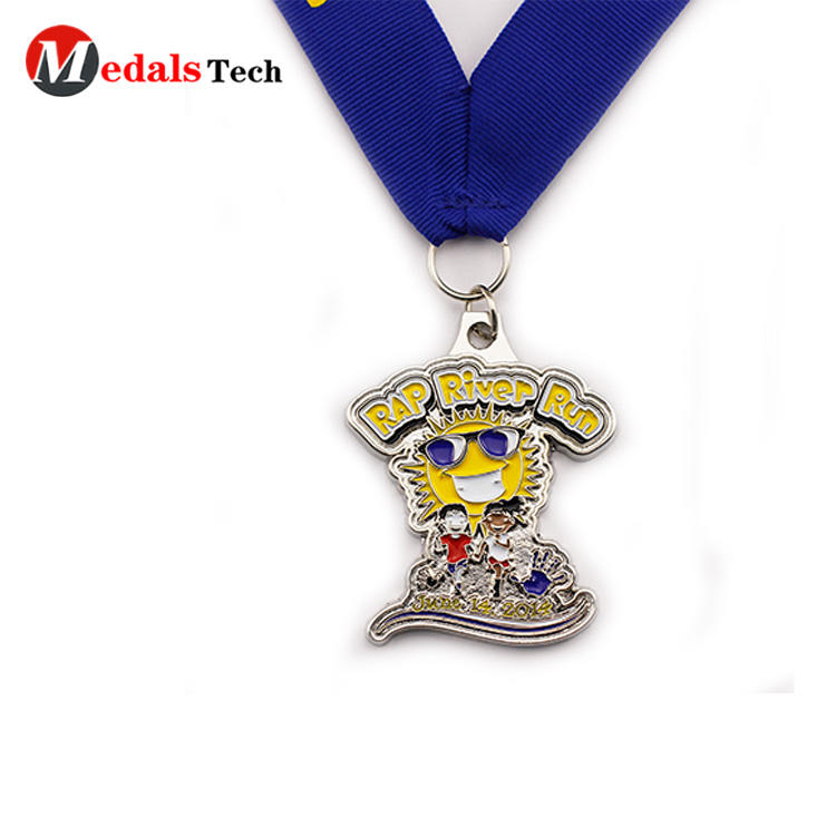 Pefessional silver plating metal funny running metal medals
