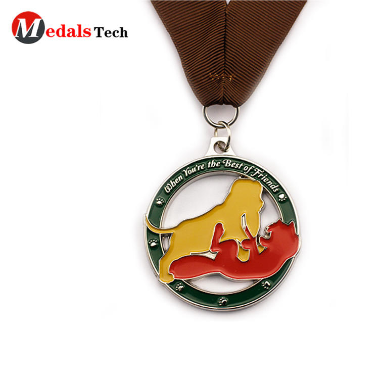 High quality cut out custom logo made round shape medals