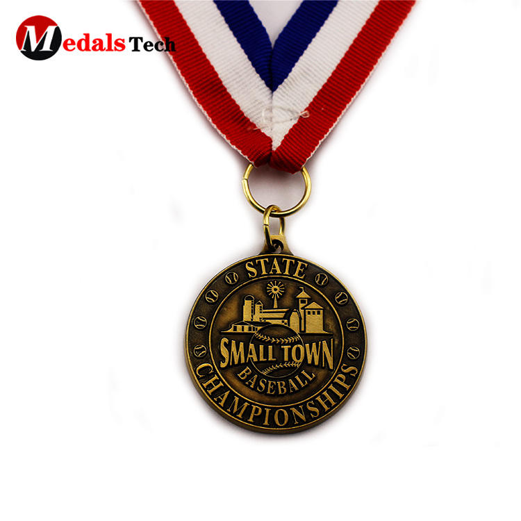 Wholesale engraved 3d logo antique gold baseball sport medals