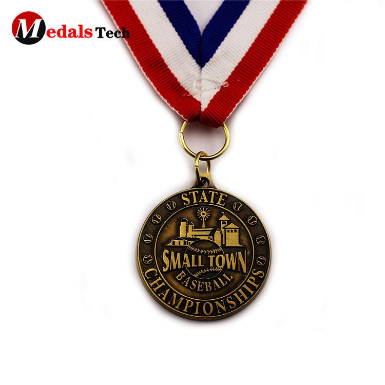 Wholesale engraved 3d logo antique gold baseball sport medals
