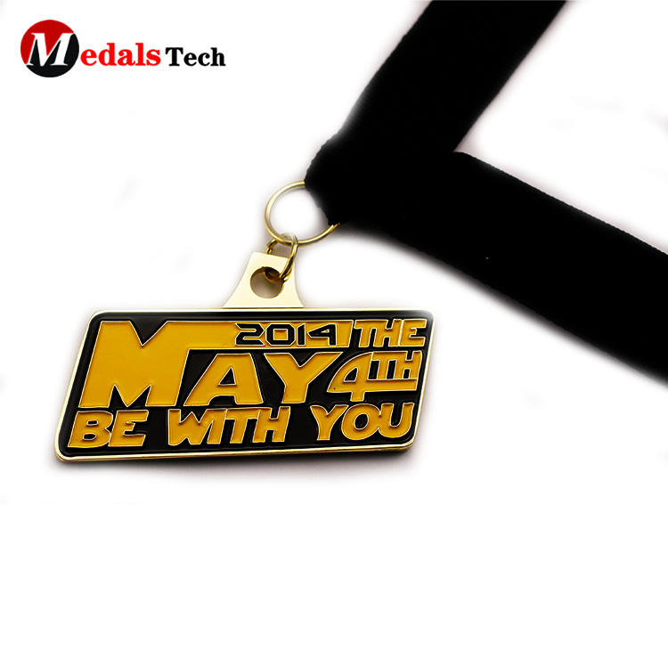 Factory price mini logo gold plating zinc alloy race medals
