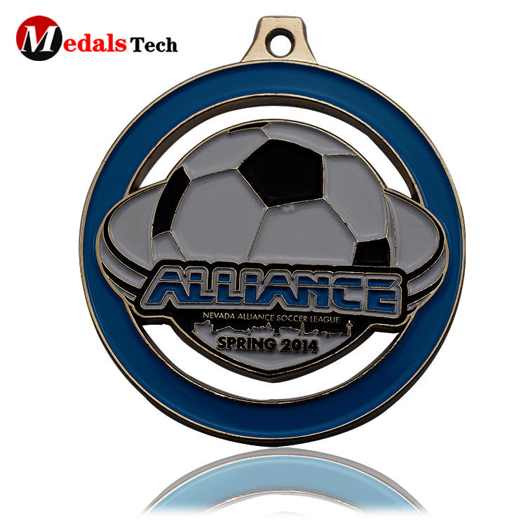High quality football sports medals silver plating