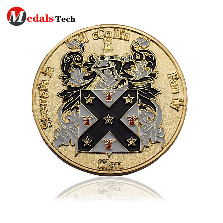 Cheap custom gold plating metal enamel challenge coins