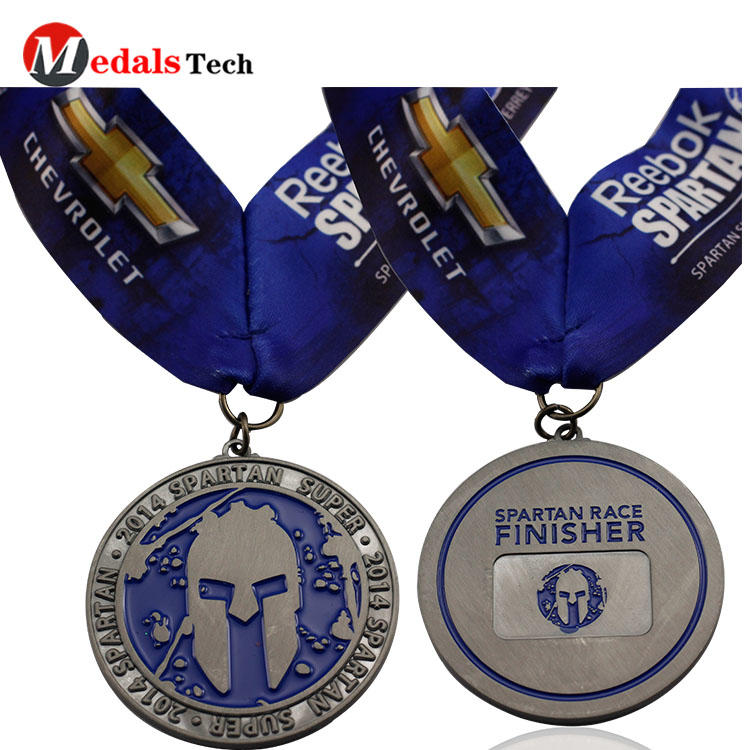Silver running race medals custom engraved logo