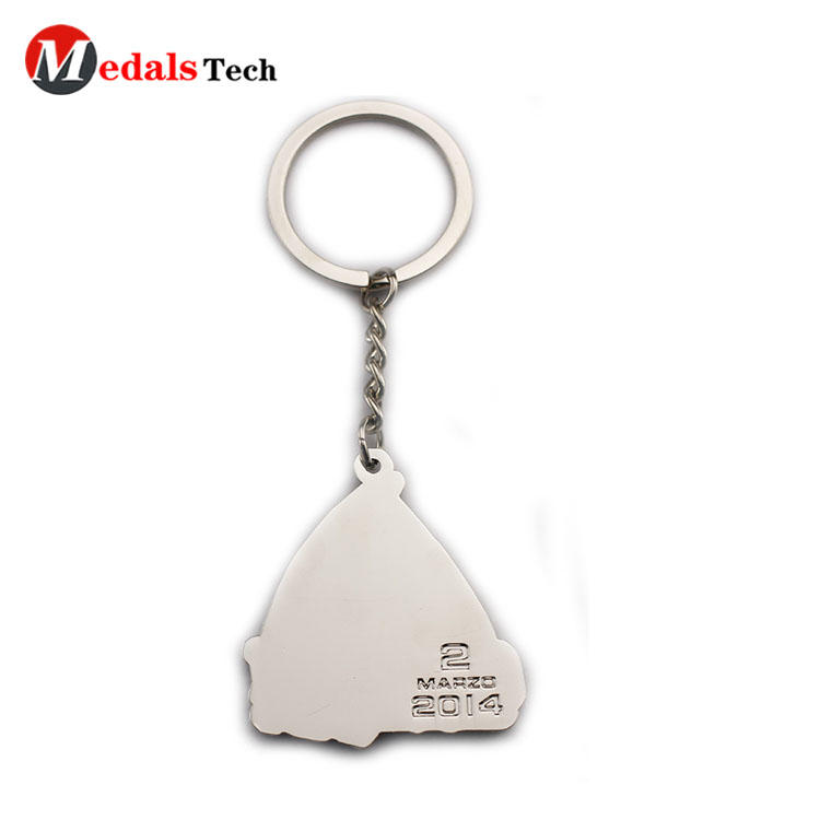 Customized logo silver plating marathon souvenir metal keychain