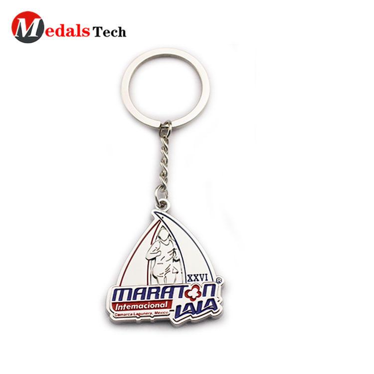 Customized logo silver plating marathon souvenir metal keychain