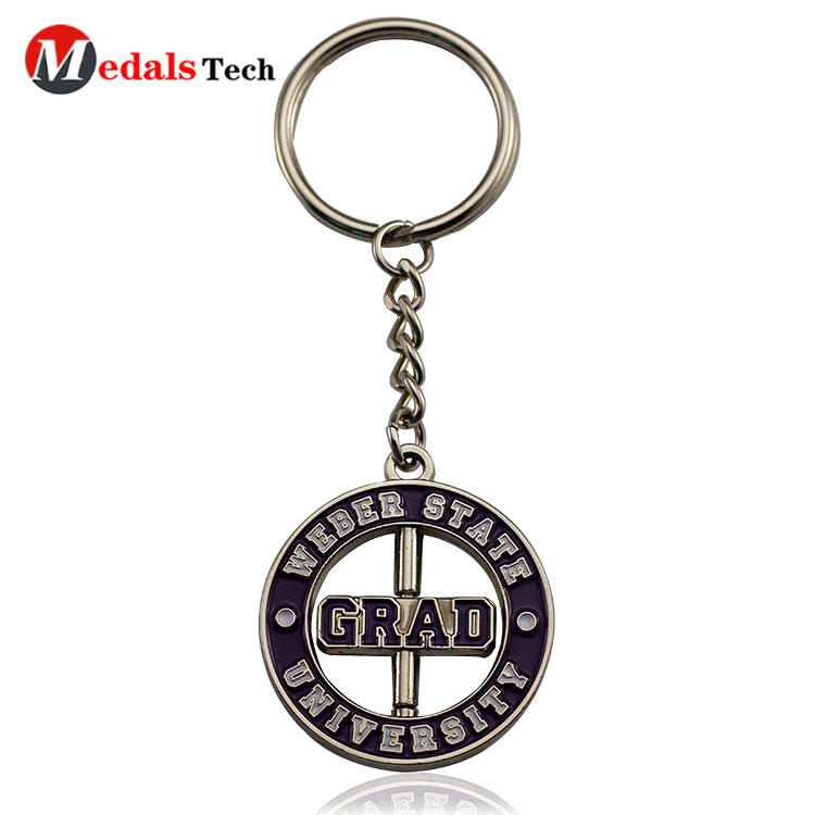 High quality cut out design soft enamel metal  gift keychain
