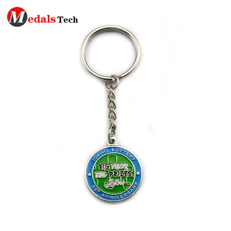 Round metal novelty keyrings double sides sticker design