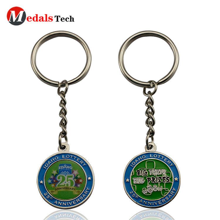 Round metal novelty keyrings double sides sticker design