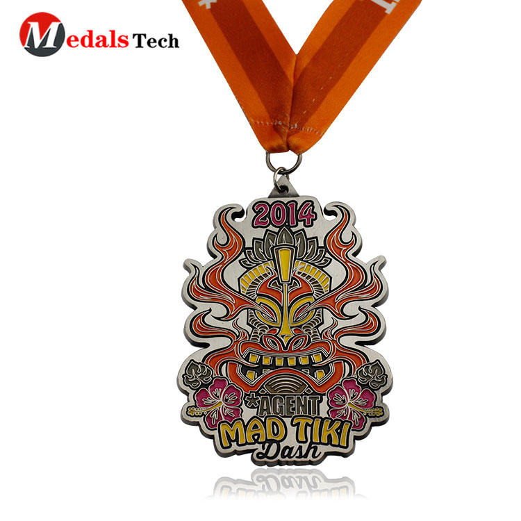 High quality custom shaped color filled silver plating medals