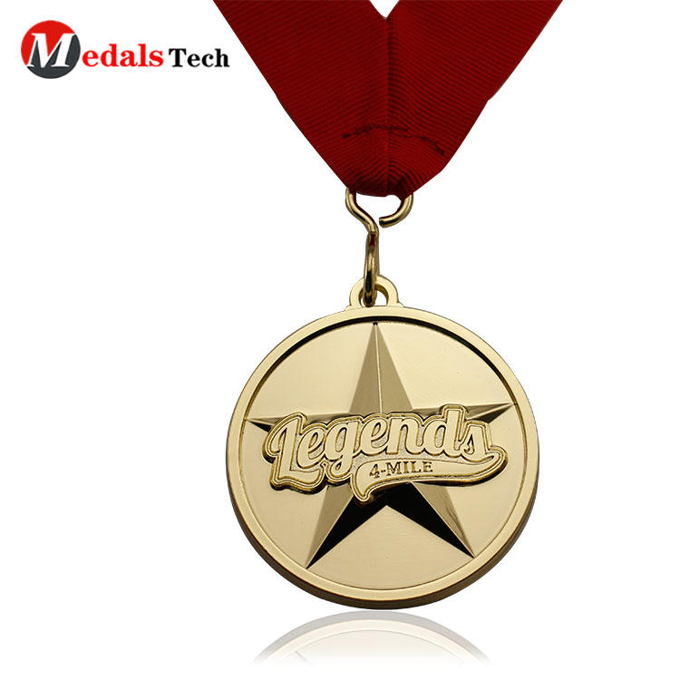 Custom metal medal round shape gold star medal with ribbon