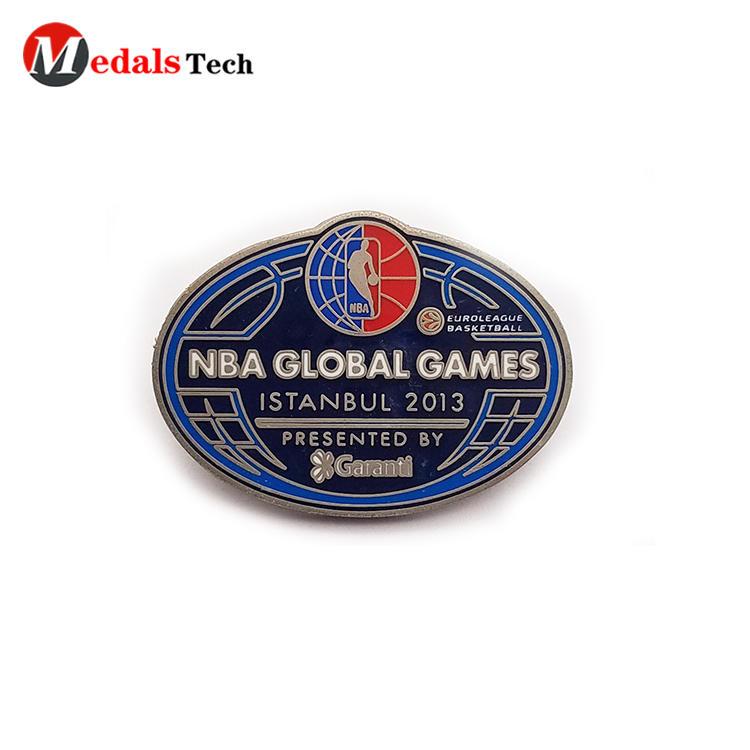 Popular cool lapel pins NBA games silver metal souvenir