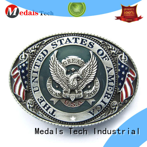 Medals Tech embossed gold buckle belt factory price for man