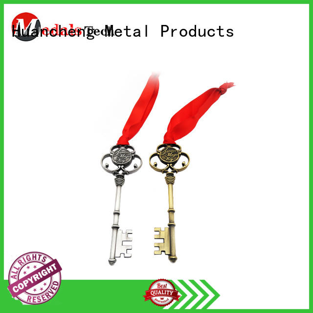 Huancheng Brand christmas gifts antique copper silver name keychains