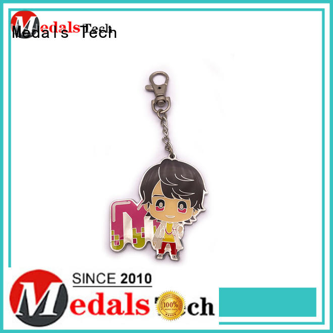 Medals Tech antique leather keychain customized for adults