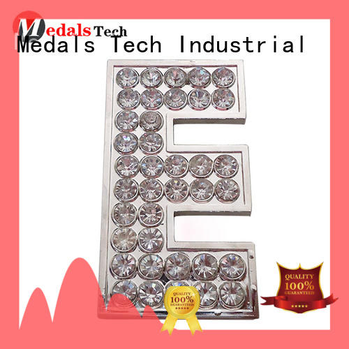 Factory price silver plating 3d logo custom rhinestone decoration  nameplate