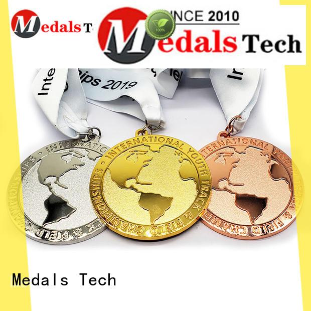 2019 new style shinny plating  earth shape embossed logo marathon medal