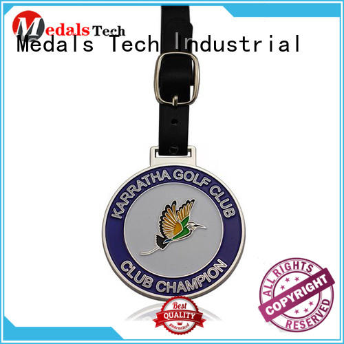Medals Tech round golf bag tag manufacturer for adults