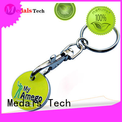 Medals Tech metal leather keychain customized for promotion