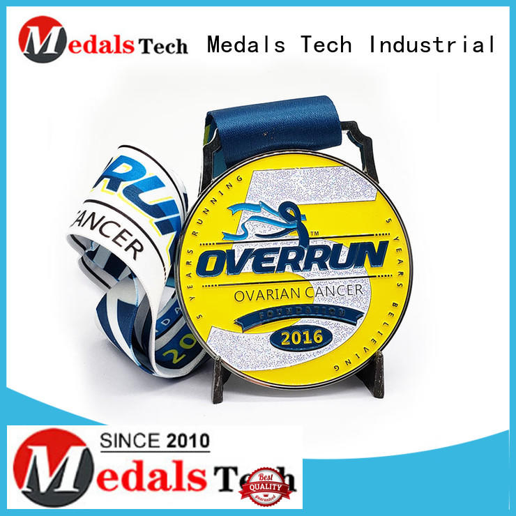 Hot selling soft enamel marathon running sport medal with sublimation ribbon