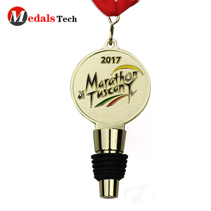 Custom promotional gold plated metal medals with wine stopper