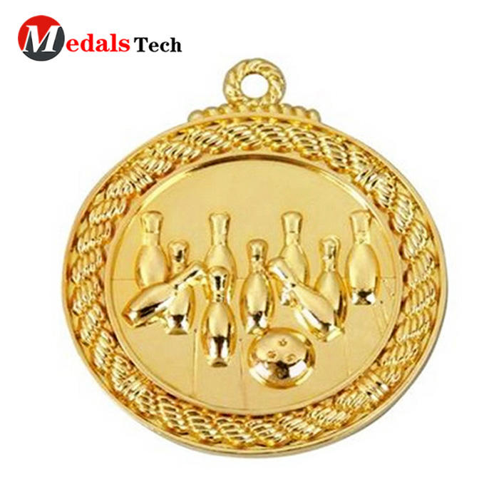 Hot sale custom making shiny gold 3d bowling games sport medal