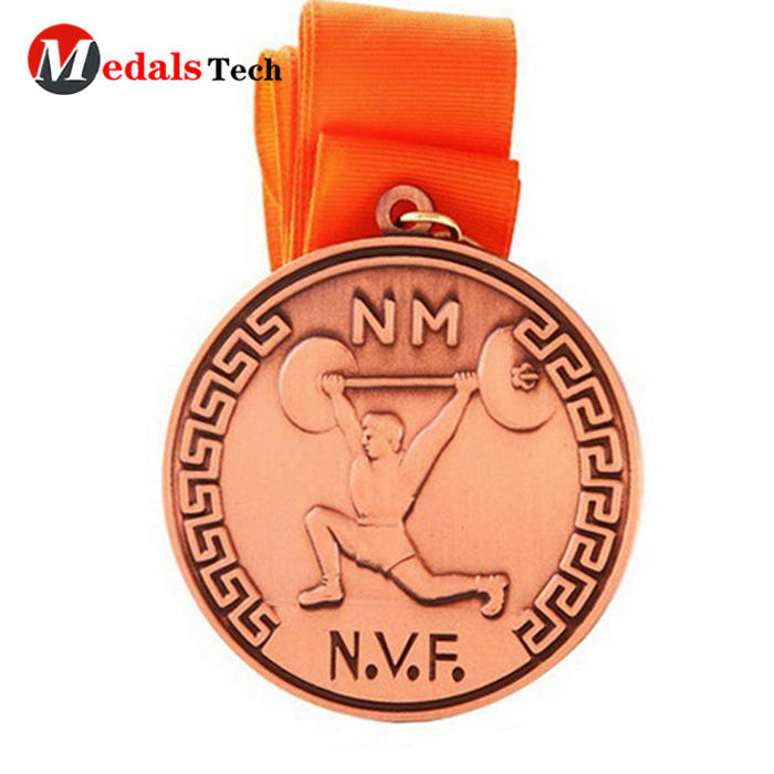 Customized gold silver copper metal medal medallions with ribbon
