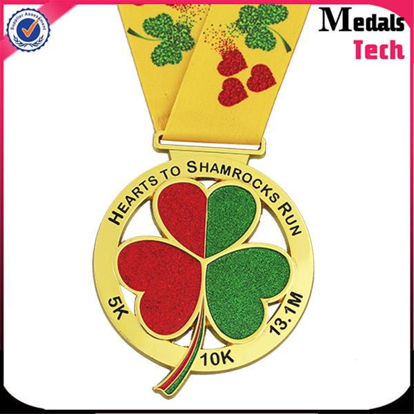 China medal factory cheap sell metal gold shamrock run medal with your own logo