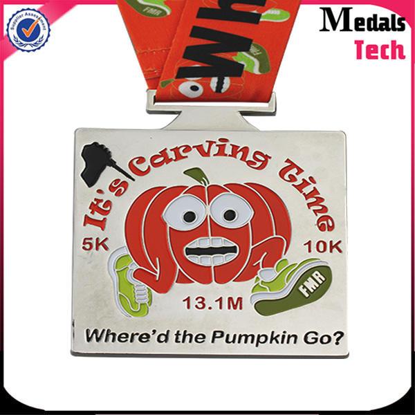 Personalized custom shiny silver metal pumpkin medal for virtual race