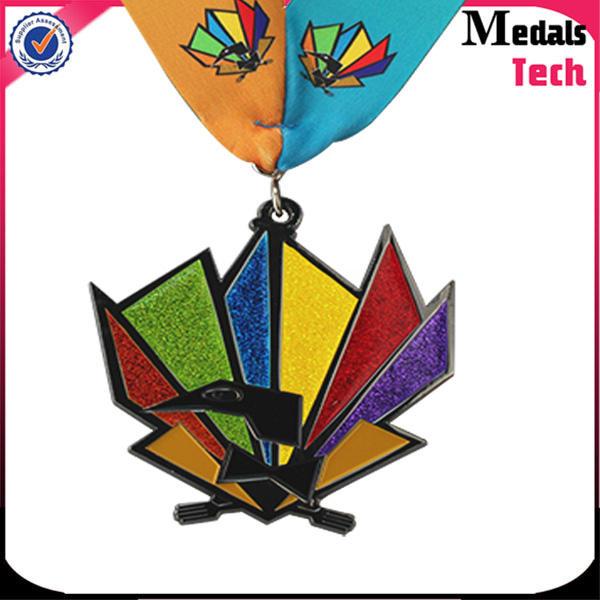 Custom made zinc alloy silver soft enamel glitter 3d race medal