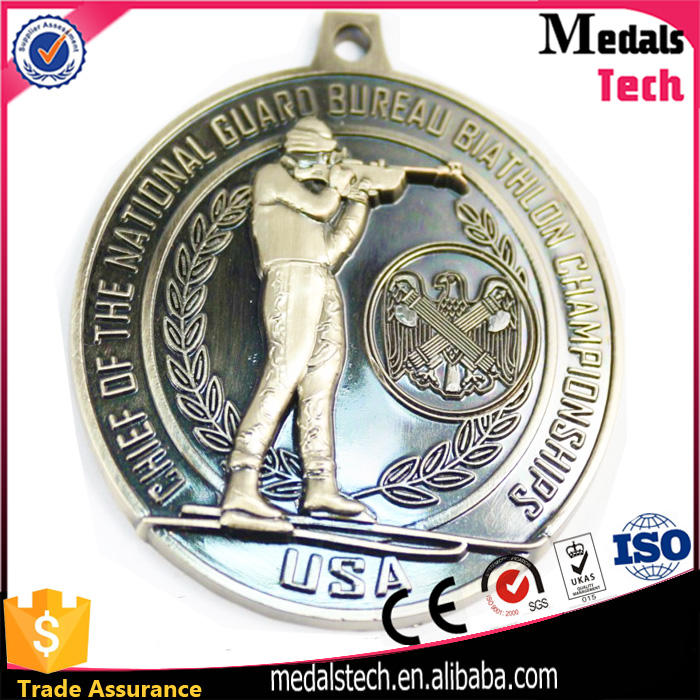 Beautiful design enamel metal summer swimming champions medals with lanyards