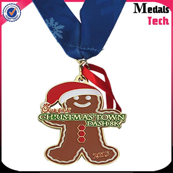Custom guitar shape silver sports half marathon run medals and trophies